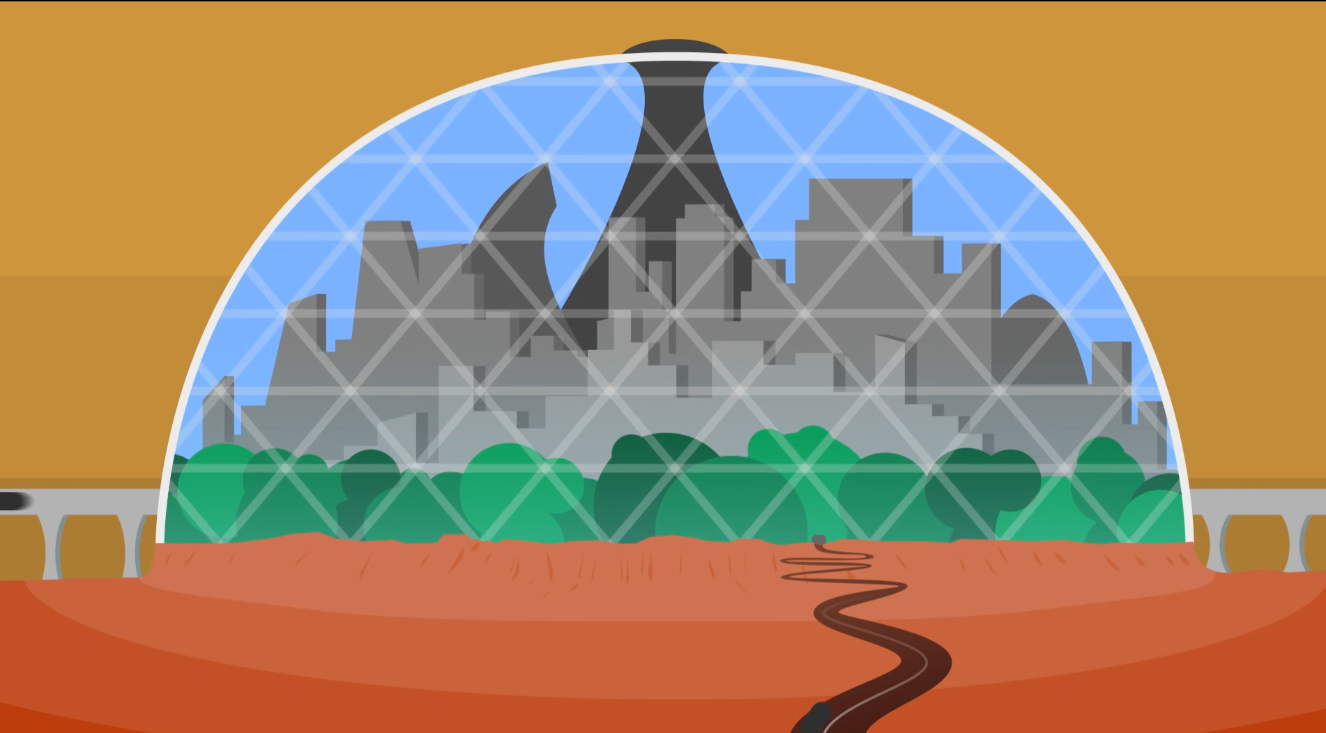 Cartoon drawing of a city on Mars