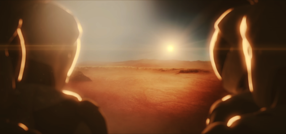 The first humans on Mars look out of the airlock to see a sunset or sunrise.